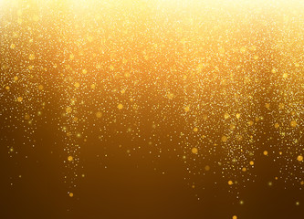 Gold glitter stardust background. Abstract falling stars. Vector illustration.