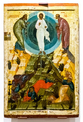 Antique Russian orthodox icon. The Transfiguration of God