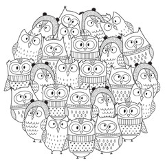 Funny owls in winter circle shape pattern for coloring book. Christmas coloring page. Vector illustration