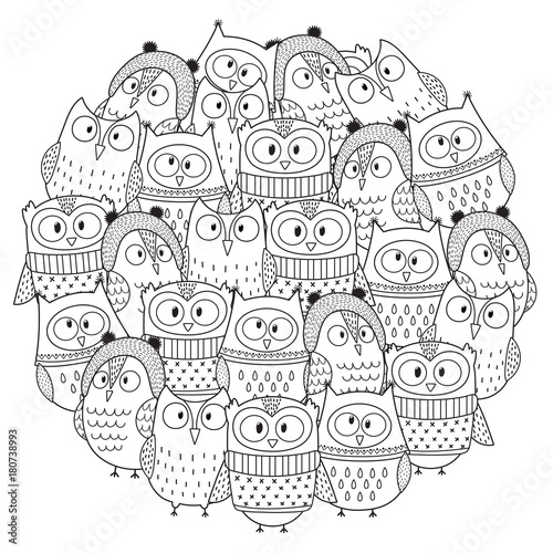 funny owls in winter circle shape pattern for coloring book christmas coloring page vector