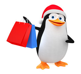 Cheerful penguin in a red hat and shopping on a white background. 3D rendering illustration. New Year.