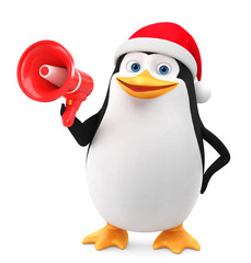 Cheerful penguin in a red hat and megaphone on a white background. 3D rendering illustration. New Year.
