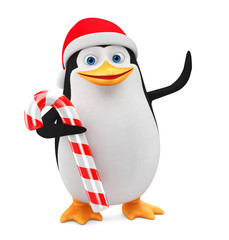 Cheerful penguin in a red hat and candy on a white background. 3D rendering illustration. New Year.