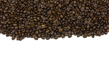 roasted coffee bean isolated on white background