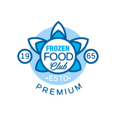 Frozen food club premium estd 1965, abstract label for freezing vector Illustration