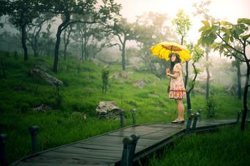 Asian woman is enjoy traveling at Siam Tulip National Park at Chaiyabhum, Thailand.