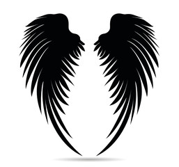 Silhouette wings. Vector illustration on white background. Black and white style