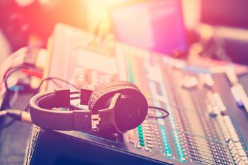 Audio Sound Mixer Adjusting Professional Sound Engineer Operator in Concert Hall