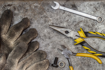 fix and repair handyman workshop tools background