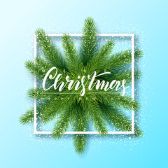 Merry Christmas and Happy New Year background with fur-tree and frame. Modern design.Universal vector background for poster, banners, flyers, card.