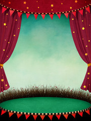 Fantasy illustration or poster for  performance  theatre or  circus  with curtains