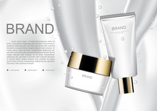 Cosmetic ads template, cosmetic products with pouring milk on milk background