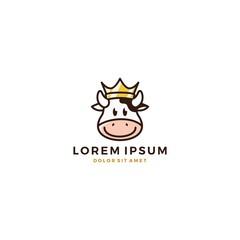 cow king crown head face avatar milk beef logo