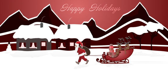 Christmas time. Santa pulls his reindeer on the sledge behind him. Winter landscape. Text: Happy Holidays