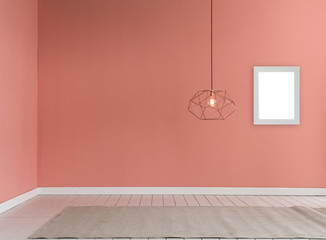 just wall carpet lamp and frame interior room concept