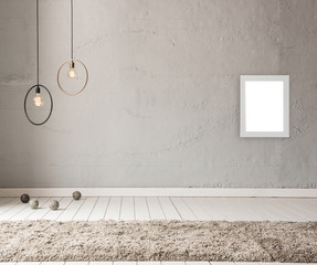 modern wallpaper grey decoration with carpet and lamp room