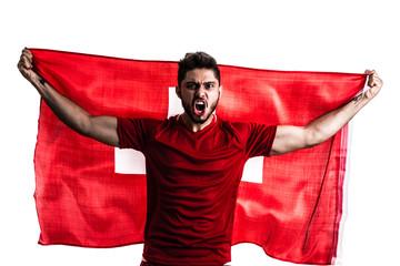 Swiss athlete / fan celebrating on white background