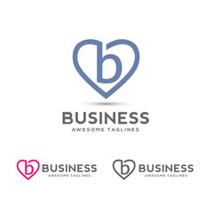 Letter b heart logo icon design template elements,elegant letter b with heart outlines logo vector
