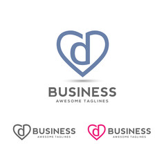 Letter d heart logo icon design template elements,elegant letter d with heart outlines logo vector