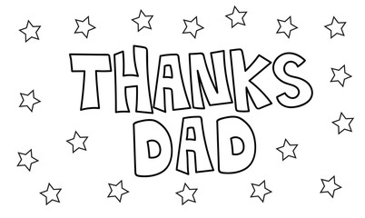 Thanks Dad Stars Coloring Page