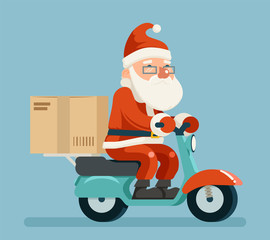 Santa Claus Delivery Courier Scooter Symbol Box Icon Concept Isolated Cartoon Flat Design Vector Illustration