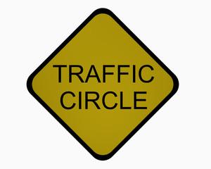 Verkehrsschild USA: Kreisverkehr, auf weiß isoliert