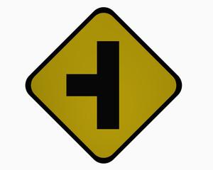 Verkehrszeichen USA : Nebenstraße im linken Winkel, auf weiß isoliert, 3d rendering