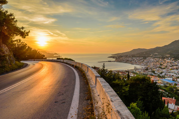 Road in the sunset. View of Samos town at sunset, Samos island, Greece
