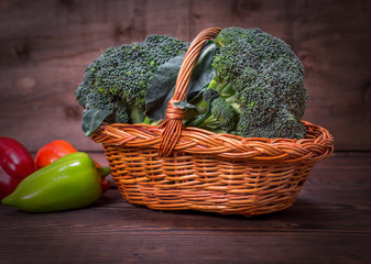 fresh broccoli in a wicker brown basket