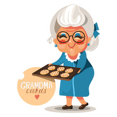 Adorable, cute, cartoon, flat character grandmother (grandma) in a blue dress and glasses with cooked, fresh baked cookies with chocolate chips