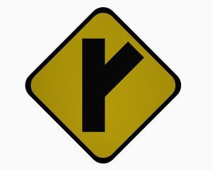 Verkehrszeichen USA : Nebenstraße in einem spitzen, rechten Winkel, auf weiß isoliert
