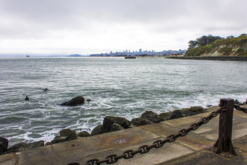 Views of the San Francisco Bay from Fort Point, California