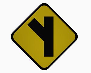 Verkehrszeichen USA : Nebenstraße in einem spitzen, linken Winkel, auf weiß isoliert