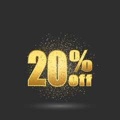 Gold sale 20 percent. Golden sale 20 percent on gold background. Shine salling background for flyer, poster, shopping, for symbol sign, discount, selling, banner, web