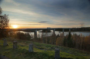 Bridge near Askersund over northern part of the lake Vaettern in Sweden