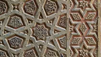 Ornaments of the bronze-plate door of Sultan Qalawun mosque, al Moez street, Old Cairo, Egypt