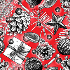Hand drawn red seamless pattern with Christmas elements. Xmas and winter holidays. Vector.