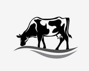 feeding cow stylized vector silhouette