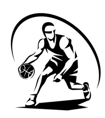 basketball player stylized vector silhouette, logo template in outlined sketch style