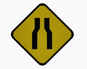 Verkehrszeichen USA (Bundesstaat New York): Verengte Fahrbahn, auf weiß isoliert, 3d rendering