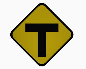 Verkehrszeichen USA: T-Straße, auf weiß isoliert, 3d rendering