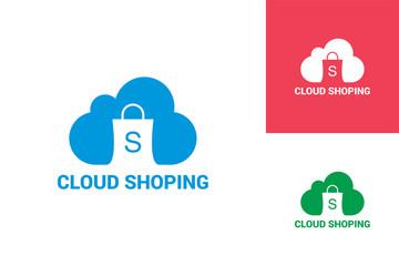 Cloud Shoping Logo Template Design