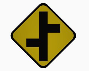 Verkehrszeichen USA (Maryland und Bundesstaat New York): Versetzte Einmündungen, auf weiß isoliert, 3d rendering