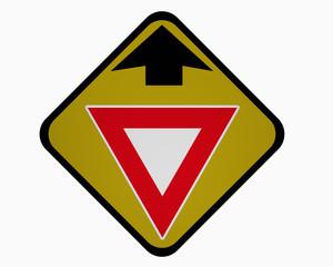 Verkehrszeichen USA : Ankündigung für Vorfahrt gewähren! auf weiß isoliert