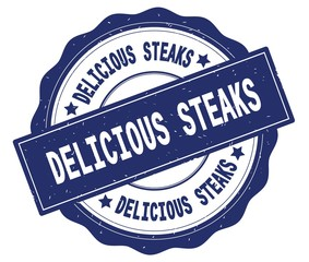 DELICIOUS STEAKS text, written on blue round badge.