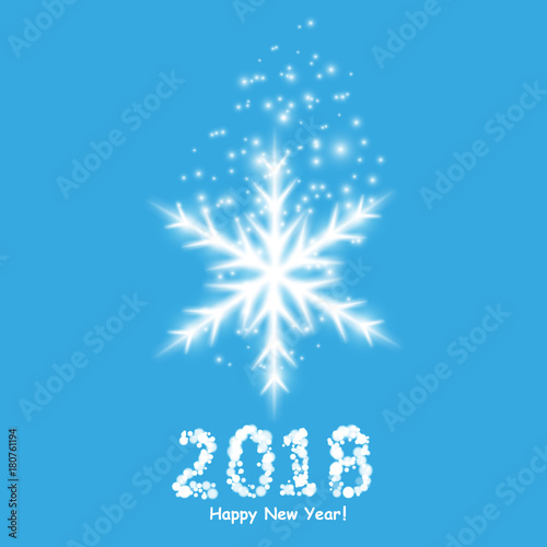 happy new year 2018 background with snowman and snow vector illustration
