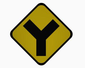 Verkehrszeichen USA : Y-Straße, auf weiß isoliert, 3d rendering
