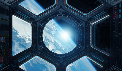 Fototapete - View of planet Earth from a space station window 3D rendering elements of this image furnished by NASA
