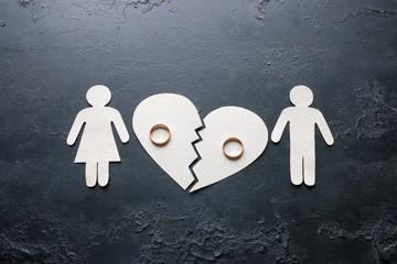 paper family near a broken heart a divorce