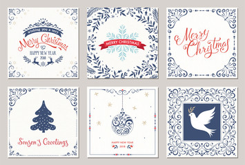 Ornate square winter holidays greeting cards with New Year tree, reindeers, Christmas ornaments, Peace Dove, snowflake, typographic design, swirl and floral frames.